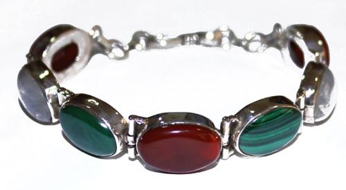 Multi-color Moonstone Malachite Silver Setting Bracelets 7.5 Inches