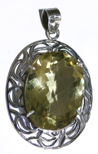 Sterling Silver Faceted Lemon Quartz Pendant