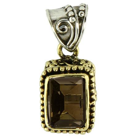 Ornate Smoky Quartz Silver And Brass Pendant