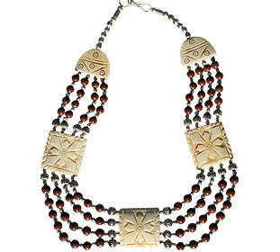 Brown Red Bone Jasper Beaded Choker Necklaces 16 Inches