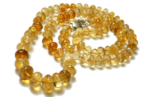 Yellow Citrine Beaded Necklaces 22 Inches