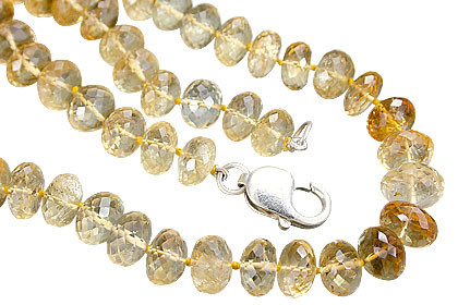 Yellow Citrine Beaded Chunky Necklaces 17 Inches