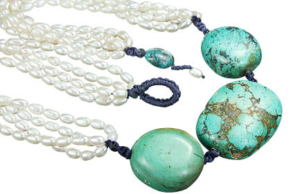 Blue White Pearl Turquoise Beaded Booby Necklaces 19 Inches