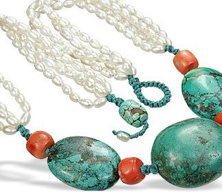 Orange White Pearl Turquoise Beaded Booby Necklaces 19 Inches