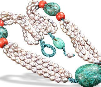 Multi-color Pearl Turquoise Beaded Booby Necklaces 19 Inches