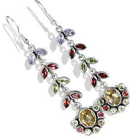 Brown Green Yellow Citrine Multi-stone Silver Setting Chandelier Earrings 2 Inches