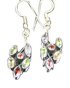 Green Yellow Multi-stone Silver Setting Earrings 1 Inches