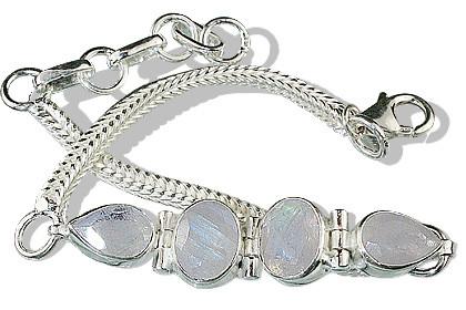 White Moonstone Silver Setting Bracelets 8 Inches