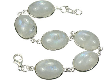 White Moonstone Silver Setting Contemporary Bracelets 7 Inches
