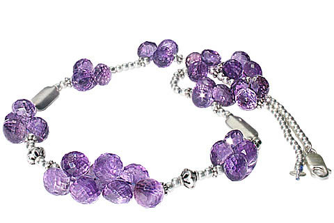 Purple Amethyst Beaded Drop Necklaces 17 Inches