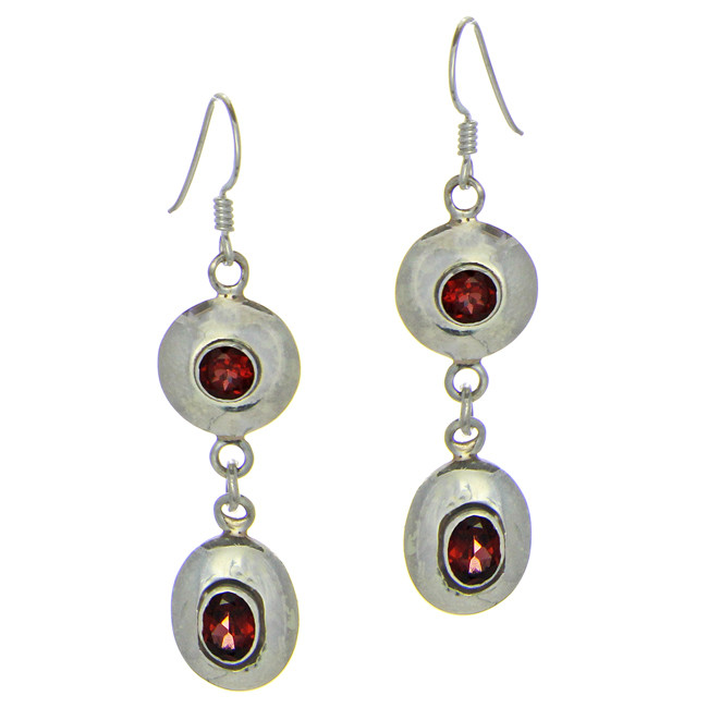 Faceted Garnet Silver Earrings