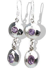 Purple Amethyst Silver Setting Earrings 1.5 Inches