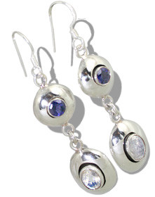 White Moonstone Iolite Silver Setting Earrings 1.25 Inches
