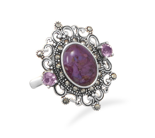 Purple Turquoise, Amethyst and Marcasite Ring