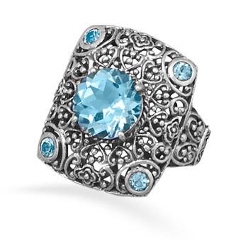 Ornate Blue Topaz Silver Frame Ring