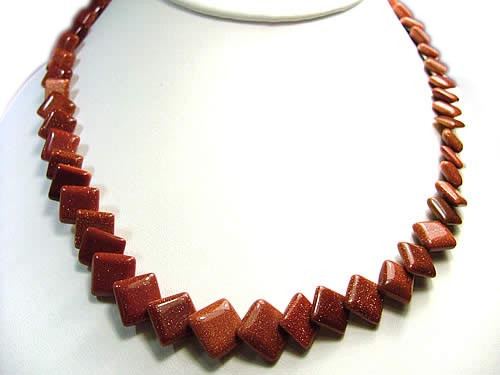 Brown Goldstone Beaded Necklaces 17 Inches