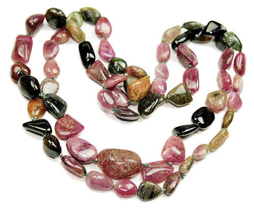 Brown Green Pink Tourmaline Beaded Necklaces 30 Inches