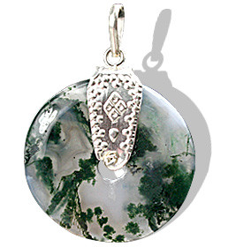 Moss Agate Donut Pendant With Silver Bail