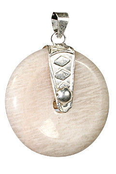 Peach Moonstone Donut Pendant With Silver Bail