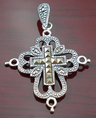 Gray Silver Beaded Christian Pendants 42 Inches