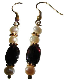 Red White Pearl Garnet Beaded Earrings