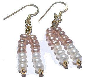 Pink White Pearl Beaded Multistrand Earrings