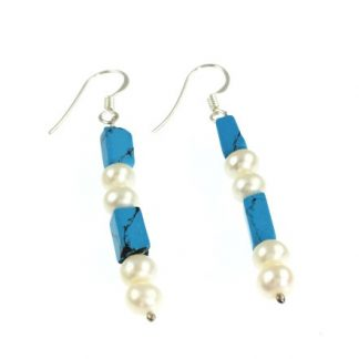 White Pearl with Blue Turquoise Beaded Earrings