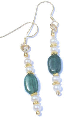 AVENTURINE BEADED GREEN EARRINGS