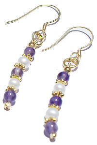Purple White Pearl Amethyst Beaded Classic Earrings 12 Inches