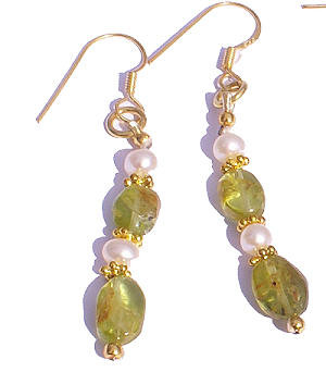 PEARL BEADED GREEN,WHITE EARRINGS