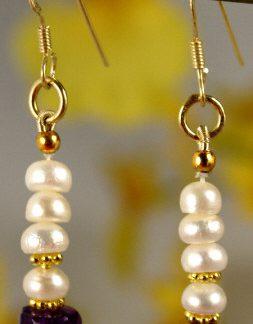 White Pearl Amethyst Beaded Earrings