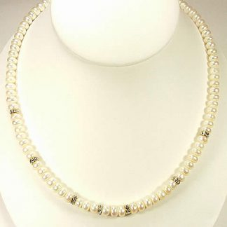 White Pearl Cubic Zirconia Beaded Necklaces 17.5 Inches