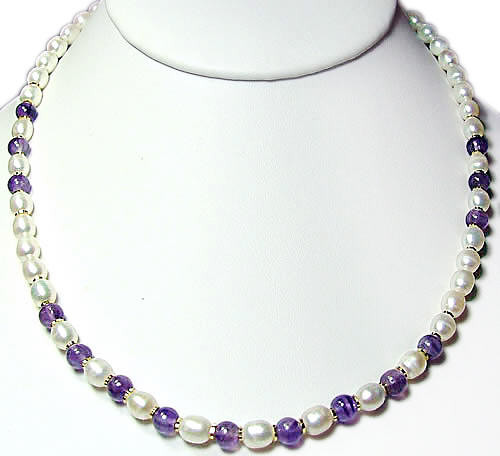Purple White Pearl Amethyst Beaded Simple-strand Necklaces 16 Inches