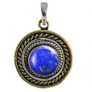Silver And Brass Lapis Lazuli Pendant