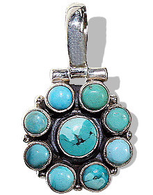 Turquoise Silver Flower Pendant