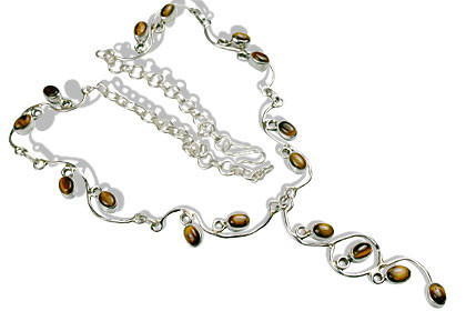 Brown Tiger Eye Silver Setting Necklaces