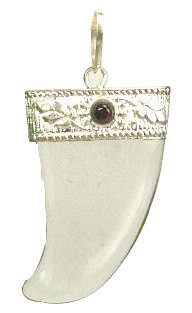 Red White Crystal Garnet Silver Setting Pendants 1 Inches