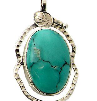 Turquoise Silver Leaf Pendant