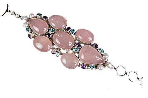 Rose Quartz And Blue Topaz Silver Bracelet