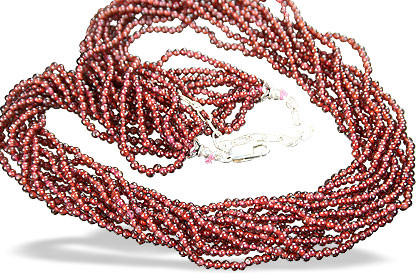 Red Garnet Beaded Multistrand Necklaces 15.5 Inches