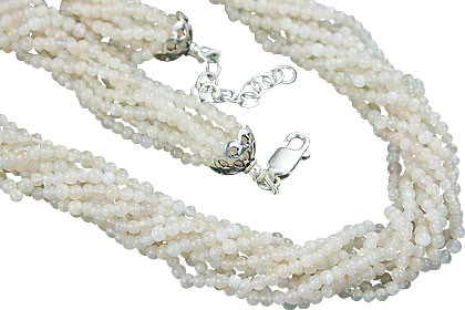 White Moonstone Beaded Multistrand Necklaces 16.5 Inches