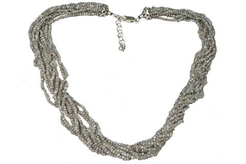 Multi-color Labradorite Beaded Multistrand Necklaces 16.8 Inches