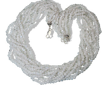 White Moonstone Beaded Multistrand Necklaces 16 Inches