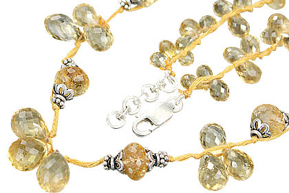 Yellow Citrine Beaded Necklaces 19 Inches