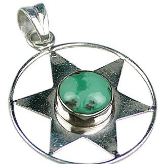 Green Turquoise Silver Setting Star Pendants 1.25 Inches