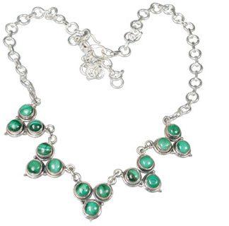 Green Malachite Silver Setting Necklaces 18 Inches