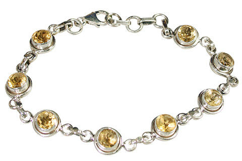 Yellow Citrine Silver Setting Bracelets 8 Inches