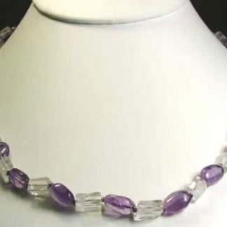 Purple White Crystal Amethyst Beaded Necklaces 17 Inches