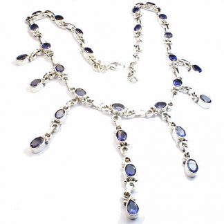 Blue Iolite Silver Setting Gothic-medieval Necklaces 17 Inches