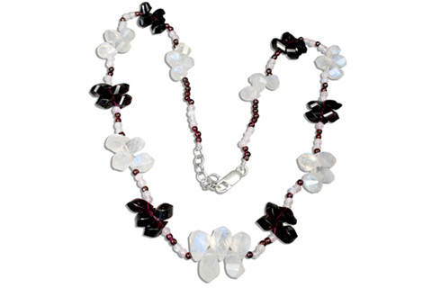 White Moonstone Garnet Beaded Necklaces 18 Inches